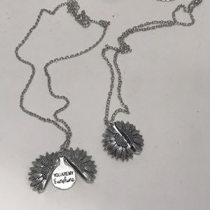 """You Are My Sunshine Sunflower necklace 18"""""""
